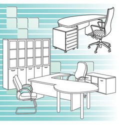 Workplace interior sketch vector
