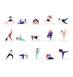 yoga characters people exercise adult woman vector image