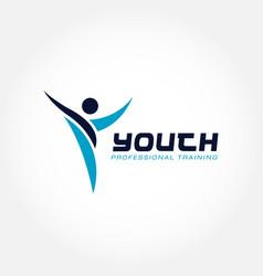 youth professional training program logo symbol vector image