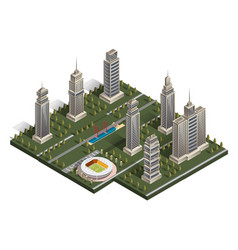 flat isometric map landscape city building vector image