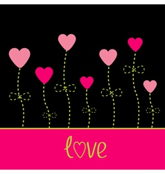 love card Heart flowers Black pink and green vector image vector image