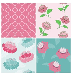 Set of Seamless Vintage Floral backgrounds vector image vector image