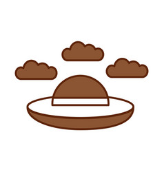 Ufo flying with clouds vector