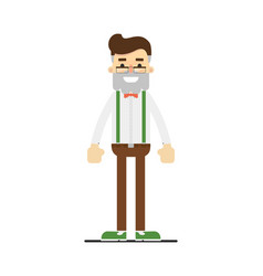 Adult hipster in shirt suspenders and pants vector