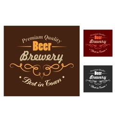 Brewery emblem or logo in retro style vector image vector image