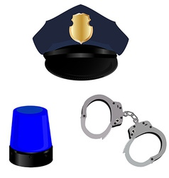 Police hat light and handcuffs vector image