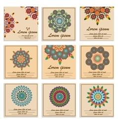 Set ornamental flower mandala greeting cards vector image vector image