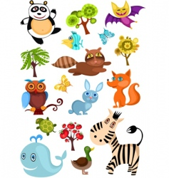 wild animal set vector image vector image