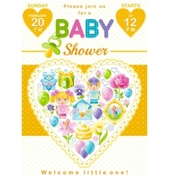 Baby shower invitation design in unisex yellow vector image vector image