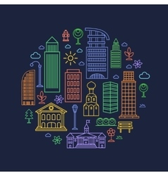 City design elements in linear style vector image vector image