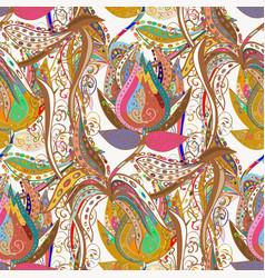 flat flower elements design cute fabric pattern vector image