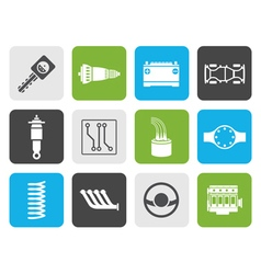 Flat Realistic Car Parts and Services icons vector image vector image