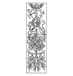 intarsia oblong panel was designed in 1495 vector image vector image