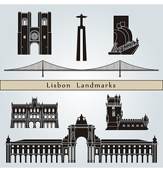 Lisbon landmarks and monuments vector image vector image