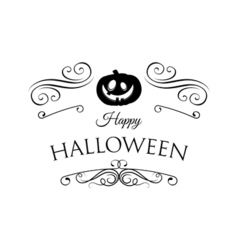 Pumpkin Smile Silhouette Happy Halloween Badge vector image