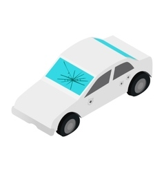 White car with broken windshield isometric 3d icon vector image vector image