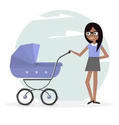 woman and pram young mom and baby vector image