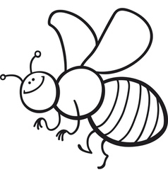 coloring page cartoon of funny bee vector image