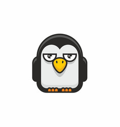 cute penguin icon on white background vector image
