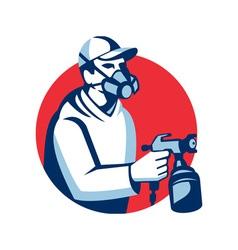 Spray Painter Spraying Paint Gun Retro vector image
