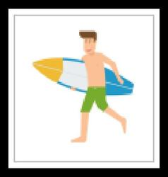 Surfer Man Running With Surfboard vector image