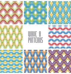 Waves seamless patterns set colorful geometric vector image