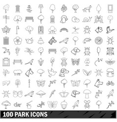 100 park icons set outline style vector image