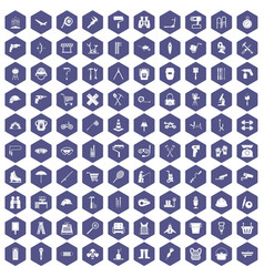 100 tackle icons hexagon purple vector