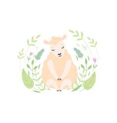 adorable little lamb cute sheep animal sitting on vector image