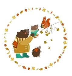 Bear bear cub squirrel and hedgehog walking in vector image