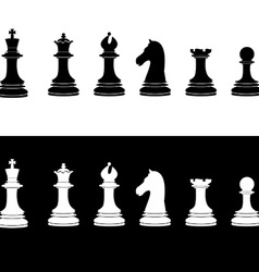 Black and white chess pieces vector image