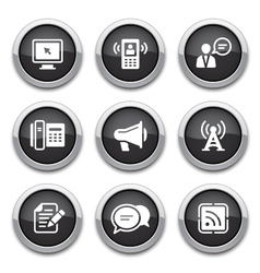 Black communication buttons vector
