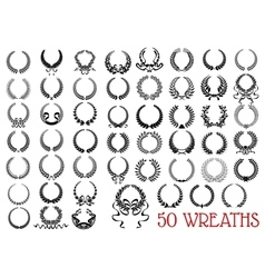Black heraldic olive and laurel wreaths icons vector image