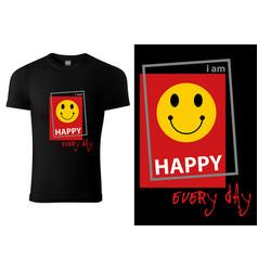 Black t-shirt design with smiling emoji vector