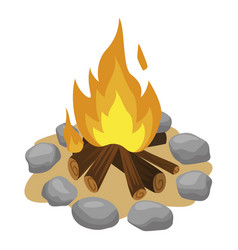 Bonfire fenced with stones cartoon icon campfire vector