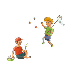 Boys catching butterfly collecting flowers vector