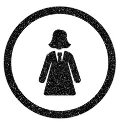 Business lady rounded icon rubber stamp vector