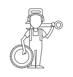 car mechanic concept in black and white vector image