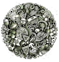 Cartoon doodles italian food round vector