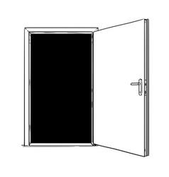 Cartoon of open modern door vector