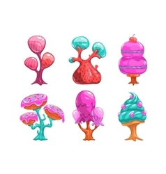 Cartoon sweet candy trees vector