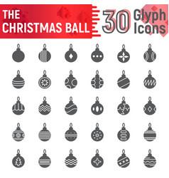 christmas ball glyph icon set xmas toy symbols vector image