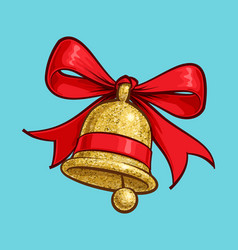 christmas cartoon icon - golden glitter bell vector image