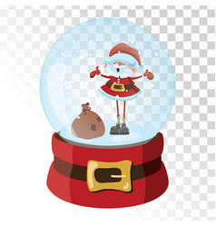 christmas glass magic ball with santa claus vector image