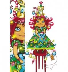 Christmas tree girl vector