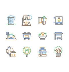 City facilities color line icons set vector
