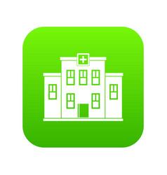 city hospital building icon digital green vector image