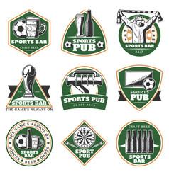 colorful vintage sport pub emblems set vector image