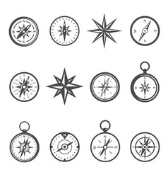 compass navigational equipment glyph icons vector image