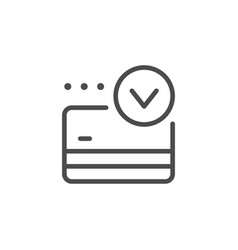 Credit card approval line outline icon vector